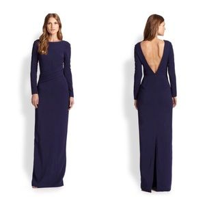 Raoul Blue Verena Gown Long Sleeve V Back Gown